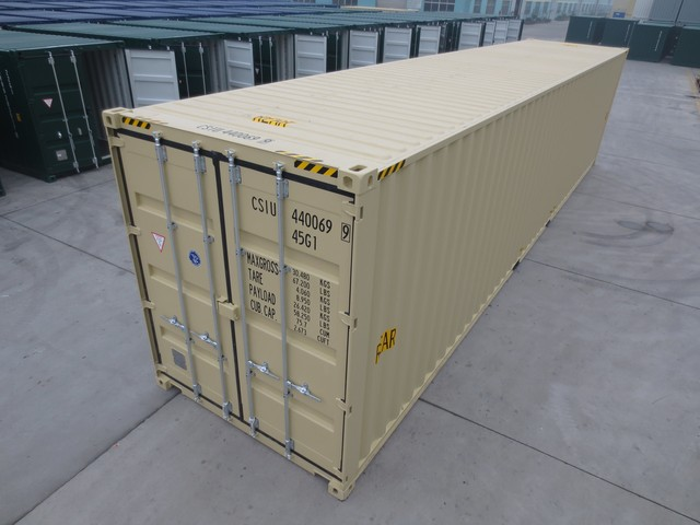 New 40' High Cube (HC) shipping container and storage container shipped from China to the USA on one-way lease